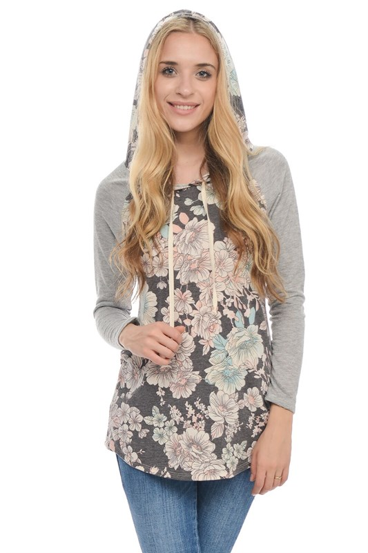 Last one! Daydreamer Hoodie - Floral French Terry Lightweight Pullover