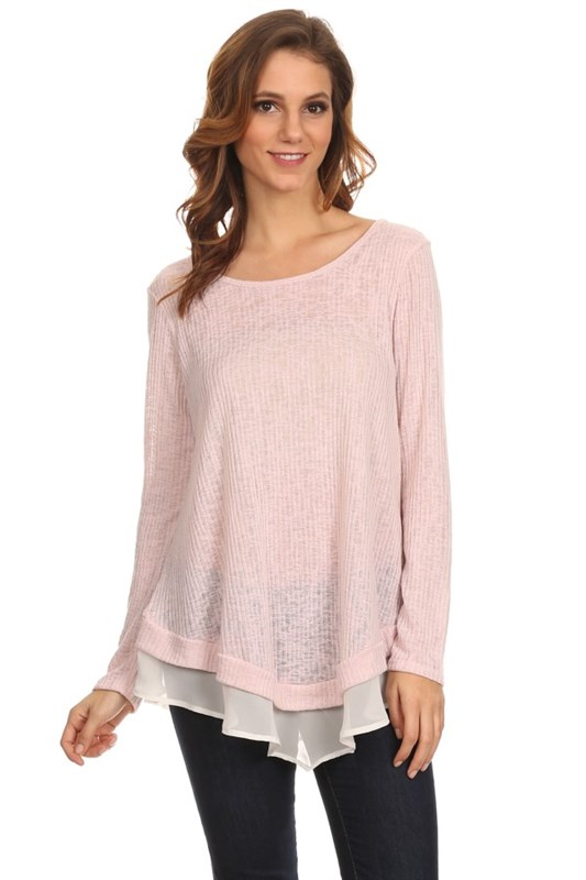 Pink Breeze -  Long sleeve knit top with contrast hem