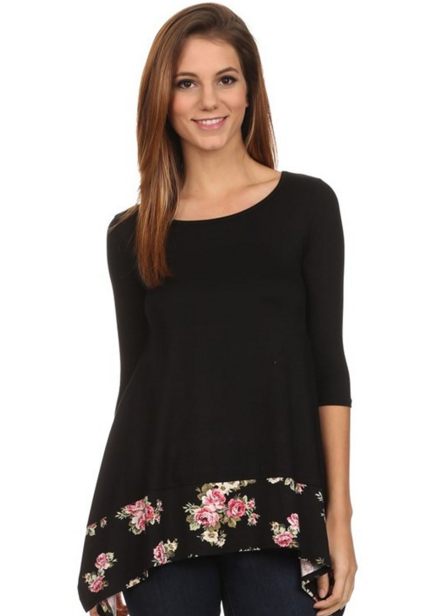 Midnight Floral - Curved Hem Black Floral 3/4 Sleeve Tunic
